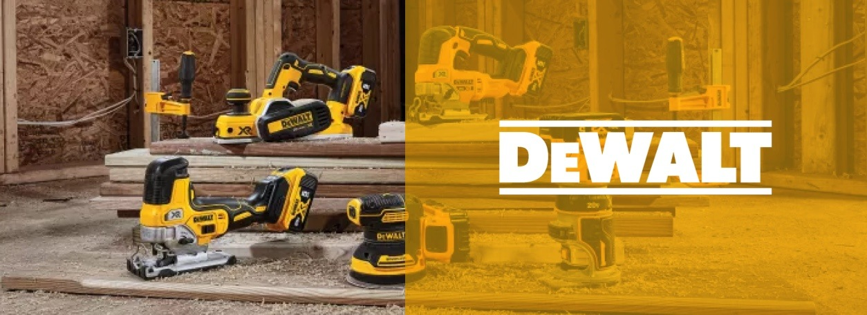 DeWALT logo with five power tools on lumber in background